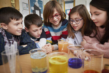 Group of children in a science chemistry lesson - PWF00071