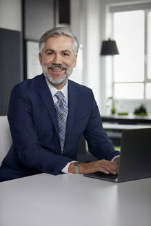Portrait of smiling mature businessman using laptop in office - RBF07666