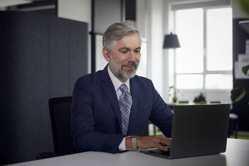Mature businessman using laptop in office - RBF07669