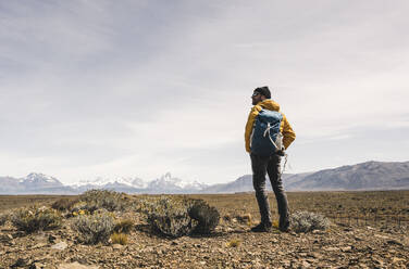 Hiker in remote landscape in Patagonia, Argentina - UUF20295