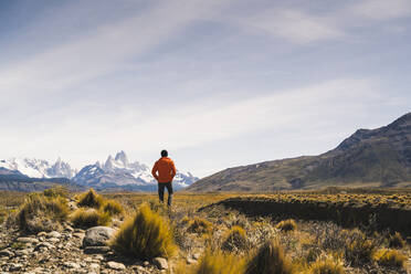 Hiker in remote landscape in Patagonia, Argentina - UUF20298