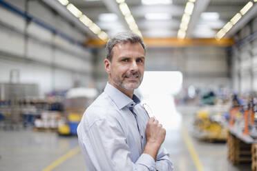 Portrait of a confident mature businessman in a factory - DIGF10641