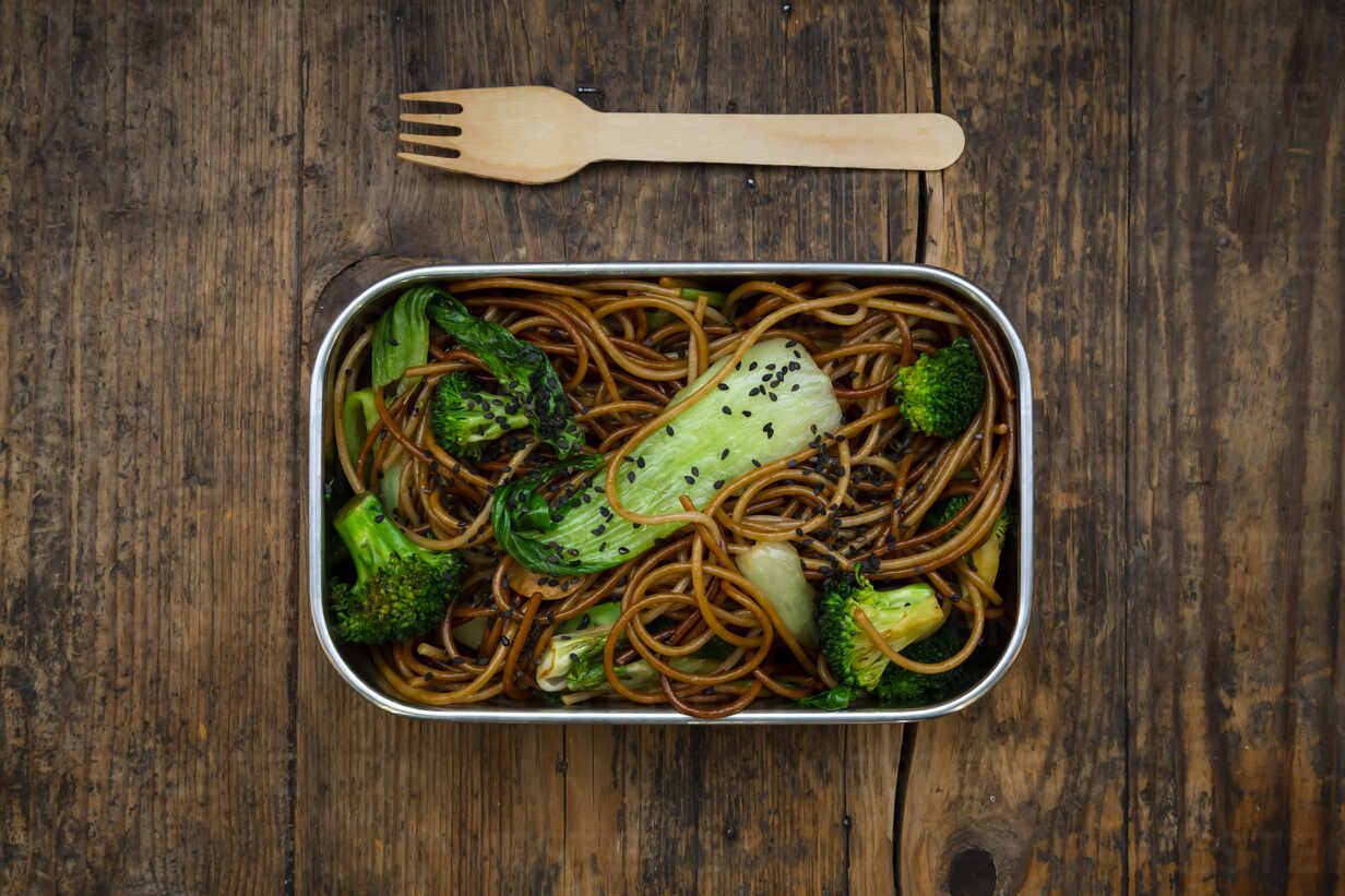 Lunch Box Of Soba Noodles With Bok Choy Broccoli Soy Sauce And Black Sesame Seeds Lvf08883