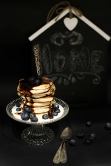 Pancakes with blueberries and chocolate sauce - VBF00046