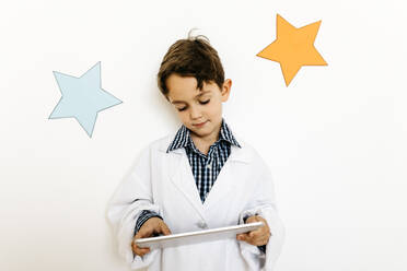 Boy with clipboard playing researcher - JRFF04452