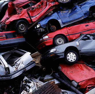 Pile of wrecked cars at a junk yard in Reykjavik / Iceland - CAVF81010