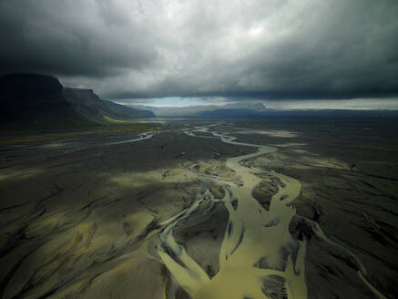 Aerial shot of meandering glacier rivers in south Iceland - CAVF81269