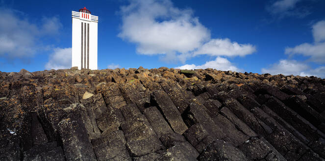 The lighthouse at Kalfhamarsvik in north Iceland - CAVF81491