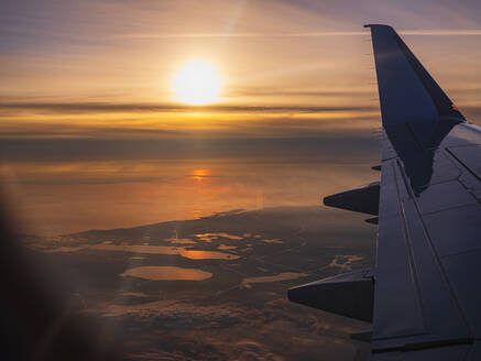 Netherlands,View from airplane flying at sunset - HAMF00605