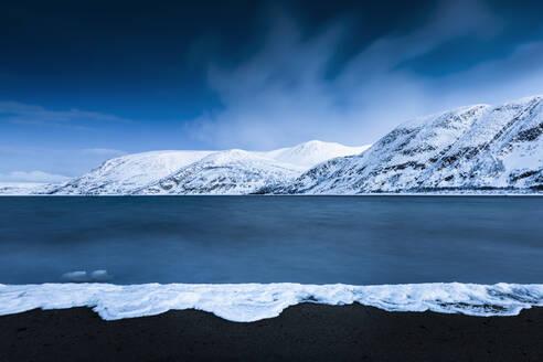 Frozen foam, Tanafjorden, Suoidnesuolu, Tana, Norway - WVF01566