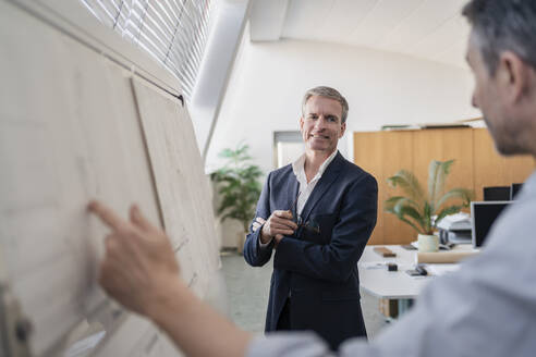 Confident mature businessman looking while listening to male colleague explaining strategy over whiteboard at office during meeting - DIGF11287
