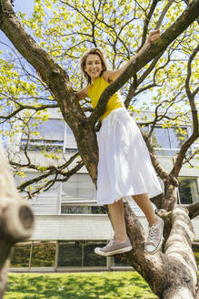 Portrait of happy woman standing in a tree in a park - MFF05703