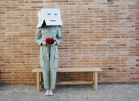 Woman holding red rose, wearing cardboard box with happy face, standing by bench in front of brick wall - AFVF06331