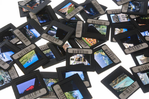 Germany, Studio shot of heap of bar-coded photographic slides - SIEF09862