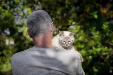 Rear view of senior man holding his cat in garden - AFVF06401