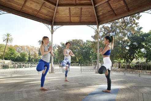 Female instructor practicing yoga in tree pose with man and woman in gazebo at Ciutadella Park - JNDF00151