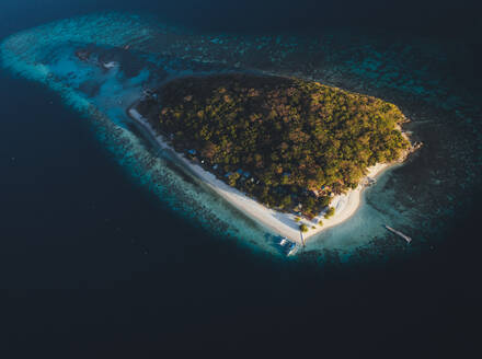 Aerial view of North Caye Island surrounded by turquoise water in Busuanga, Palawan, Philippines - AAEF08674