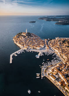 Aerial view of a jetty surrounded by houses in Rovinj, Croatia - AAEF08818