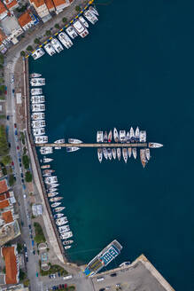 Aerial view of a yacht jetty in Saronic Gulf, Greece - AAEF08866