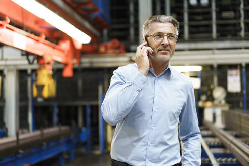 Mature businessman on the phone in a factory - MOEF03007