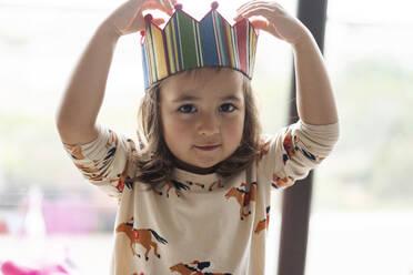 Portrait of little girl celebrating birthday - VABF03013