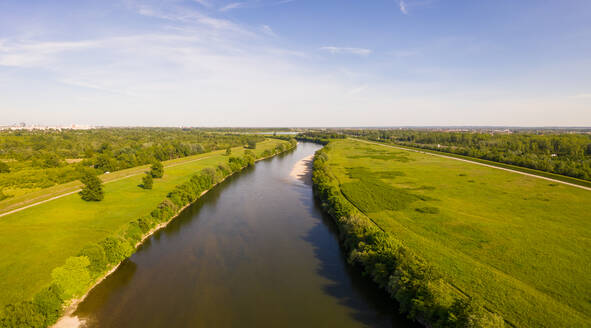 Aerial view of Sava river crossing countryside area near Zagreb, Croatia. - AAEF08998