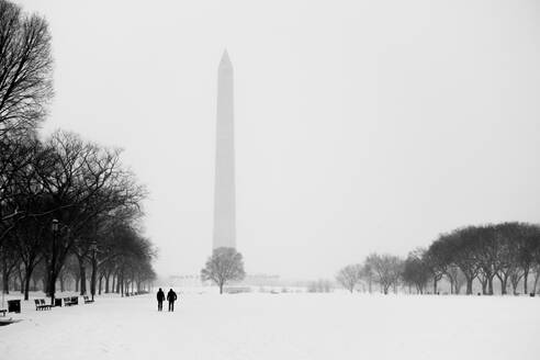 Snowcapped Field Against Washington Monument In Foggy Weather - EYF05953
