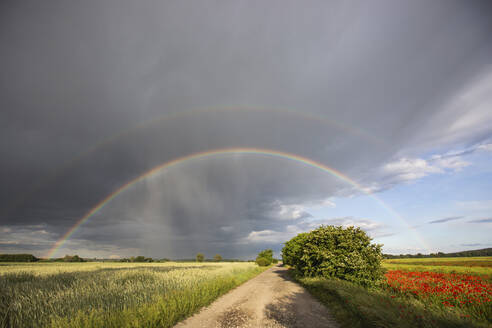 Double rainbow above fields - ASCF01394