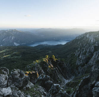 Scenic view of mountain ranges against sky at dusk, Orobie, Lecco, Italy - MCVF00457