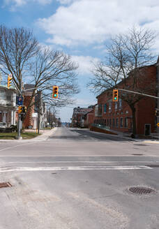 Empty city streets in Kingston, Ontario during Covid 19 pandemic. - CAVF85560