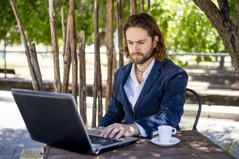 Handsome male professional using laptop while sitting with coffee cup at cafe - DLTSF00791