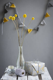 Wrapped gift and bottlewith blooming billy buttons - OJF00407