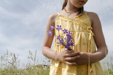 Crop view of girl standing on a meadow holding picked bellflowers - EYAF01185