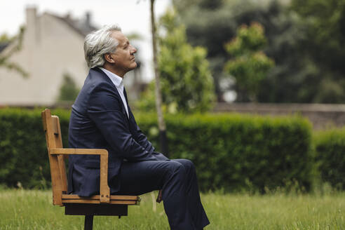 Senior businessman sitting on a chair in a rural garden - GUSF04043