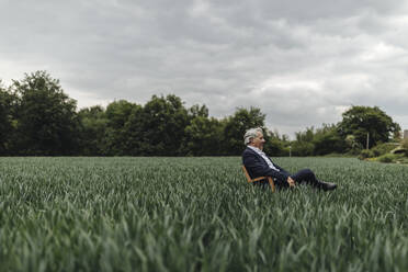 Senior businessman sitting on a chair in a field in the countryside - GUSF04067