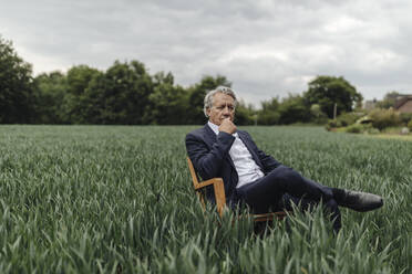 Senior businessman sitting on a chair in a field in the countryside - GUSF04070