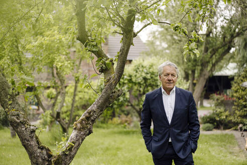 Portrait of a confident senior businessman standing at a tree in a rural garden - GUSF04151