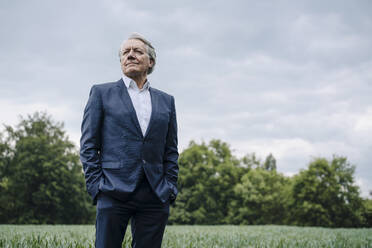 Senior businessman on a field in the countryside - GUSF04160