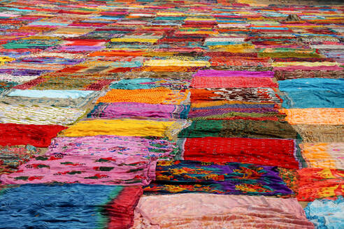 Full Frame Shot Of Colorful Saris Drying At Dhobi Ghat - EYF09318