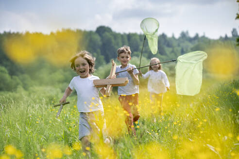 Carefree friends with model airplane and butterfly nets running on grassy land in forest - VPIF02536