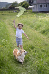 Happy boy holding butterfly net running with dog on grassy land - VPIF02545