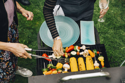 High angle view of women barbecuing vegetables at garden party - MASF19006