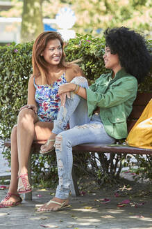 Girlfriends talking and sitting on bench - PGCF00081