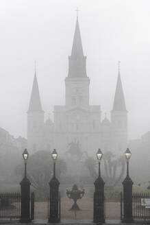 Jackson Square in the French Quarter, obscured by dense morning fog, New Orleans, Louisiana, United States of America, North America - RHPLF15791