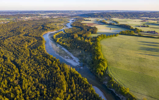 Germany, Bavaria,Geretsried, Aerial view of river Isar in summer - LHF00803