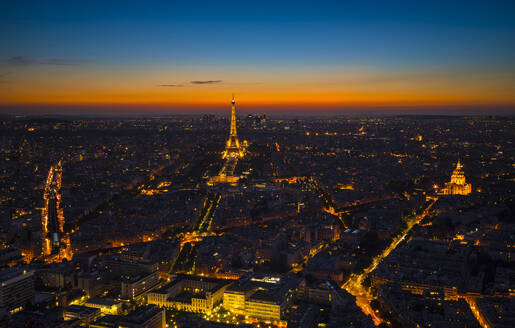 Aerial view of Eiffel Tower in Paris, France at night - HSIF00808