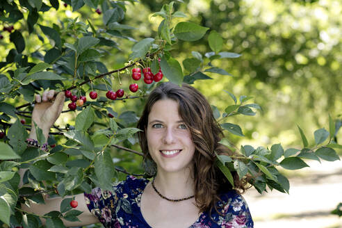 Close-up of smiling young woman holding cherry plant in farm - FLLF00493