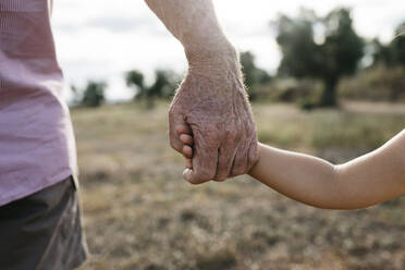 Close-up of grandfather and granddaughter holding hands - JRFF04663