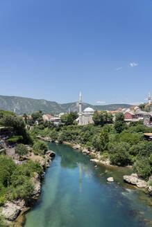 Koski Mehmed Pasha Mosque by the Neretva River in Mostar, Bosnia and Hercegovina, Europe - RHPLF16470