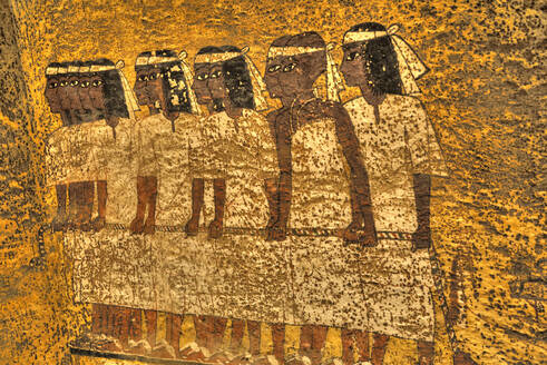 Mural of Mourners, Tomb of Tutankhamun, KV62, Valley of the Kings, UNESCO World Heritage Site, Luxor, Thebes, Egypt, North Africa, Africa - RHPLF16779